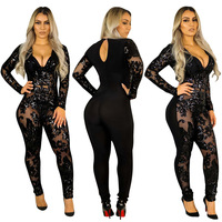 rompers womens jumpsuit transparent lace mesh bodysuit pole dance tunique femme backless sequin long sleeve sexy clubwear 2019