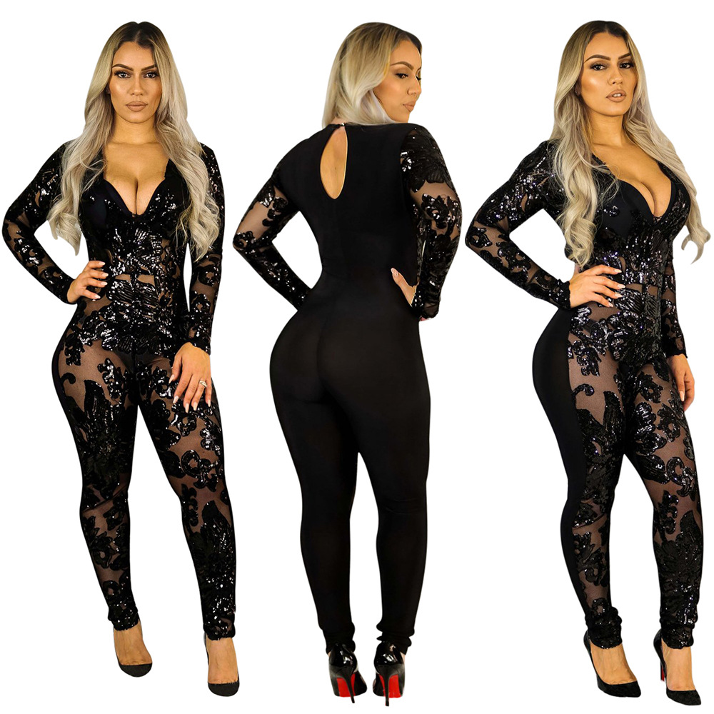rompers womens jumpsuit transparent <font><b>lace</b></font> mesh <font><b>bodysuit</b></font> pole dance tunique femme backless sequin long sleeve <font><b>sexy</b></font> clubwear 2019 image