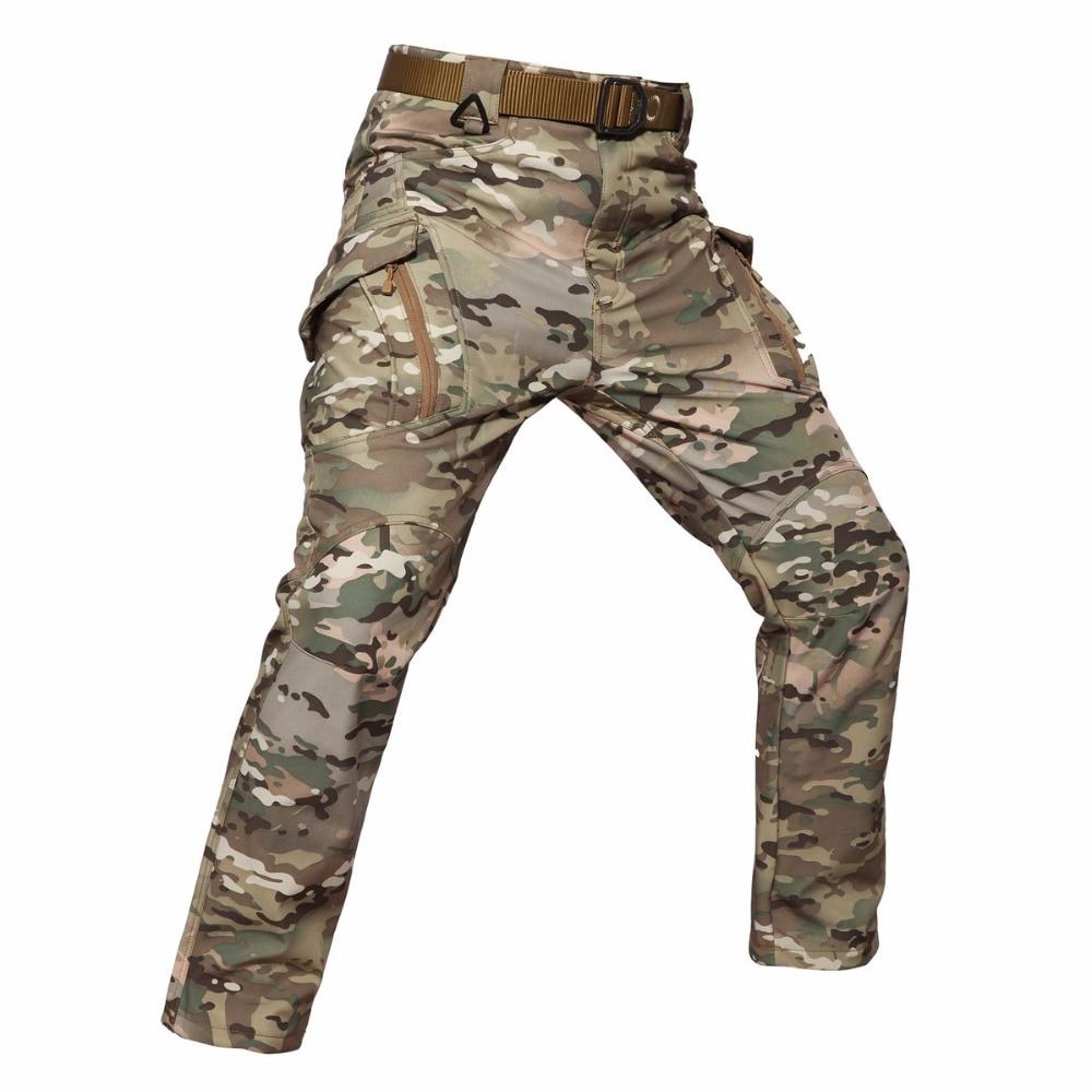 8b70684694f64 € 35.4 22% de réduction|MAGCOMSEN Tactique Softshell Pantalon Hommes Hiver  Chaud Polaire Style Militaire Camo Combat Pantalons Pantalons Cargo ...