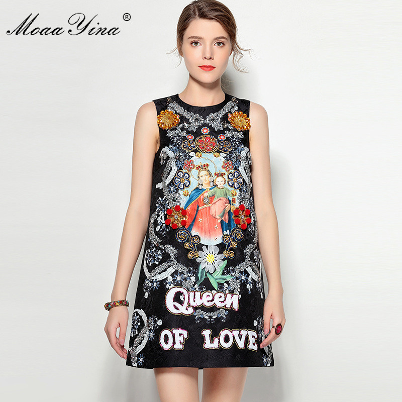MoaaYina Fashion Designer Runway Dress Summer Women Sleeveless Jacquard Sequins Diamond Crystal Applique Character Vintage Dress