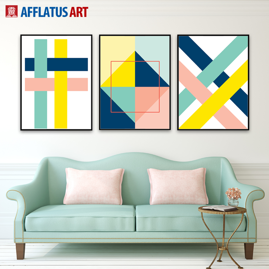 Afflatus abstract canvas painting nordic minimalism for Wall poster for living room