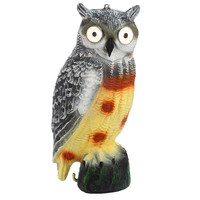 Fake Owl Decoy Solar Powered On Off Switch Place On Garden Lawn Good Watchman Resin Plastic