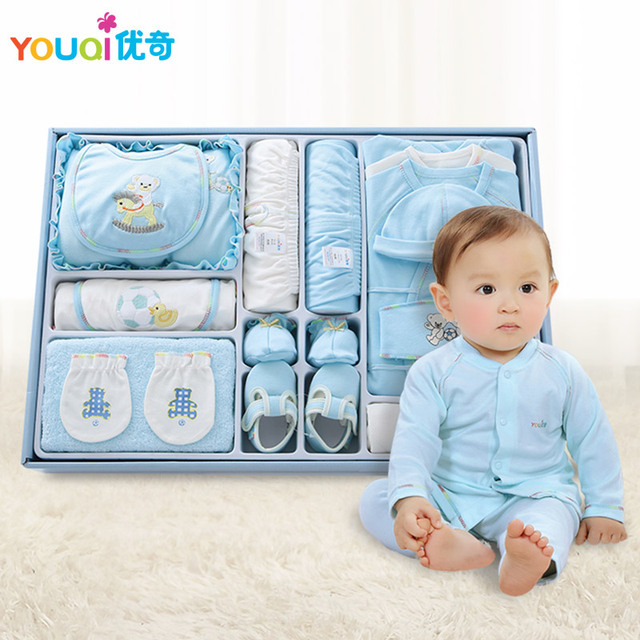 100 Quality Cotton Brand Newborn Baby Clothes 18 Pieces Gift Set
