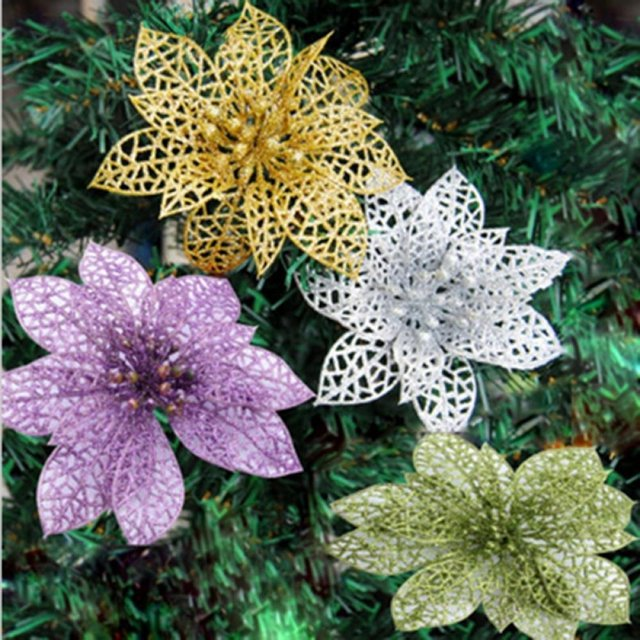 15pcs christmas tree glitter ornament flower decoration home decor party wedding decoration new year christmas decorations j - Christmas Tree Flower Decorations