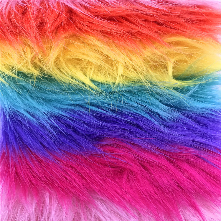Tissus de mode en tissu arc-en-ciel en peluche colorée en fourrure artificielle