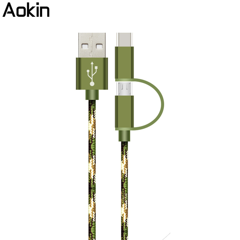 Aokin 25cm 1m Type-C Micro USB 2 in 1 Nylon Cable Fast Charging Data Sync Adapter USB Cable for Nokia N1 For Macbook 12 Samsung