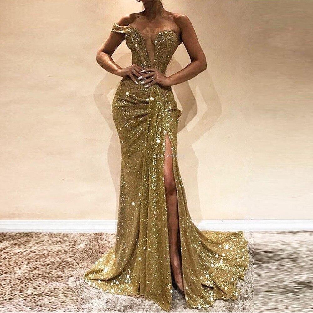 Ordelijk Gold Sequin Mermaid Seksuele Prom Avond Maxi Jurken Vrouwen Been Split Event Lange Afstuderen Lady Party Wear Vestidos Soiree Betrouwbare Prestaties