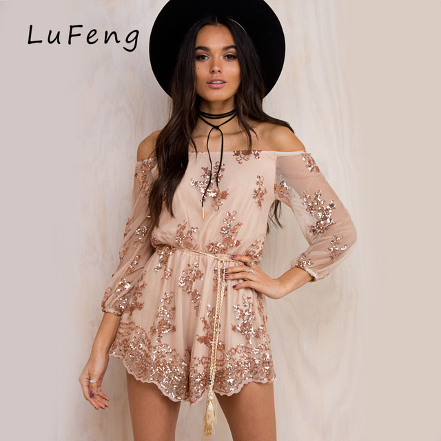 684d37d7078 Sequin Embroidery Playsuits Mesh Sleeve Jumpsuit 2017 Sexy Off Shoulder  Rompers Womens Gold Vorta Vento Short