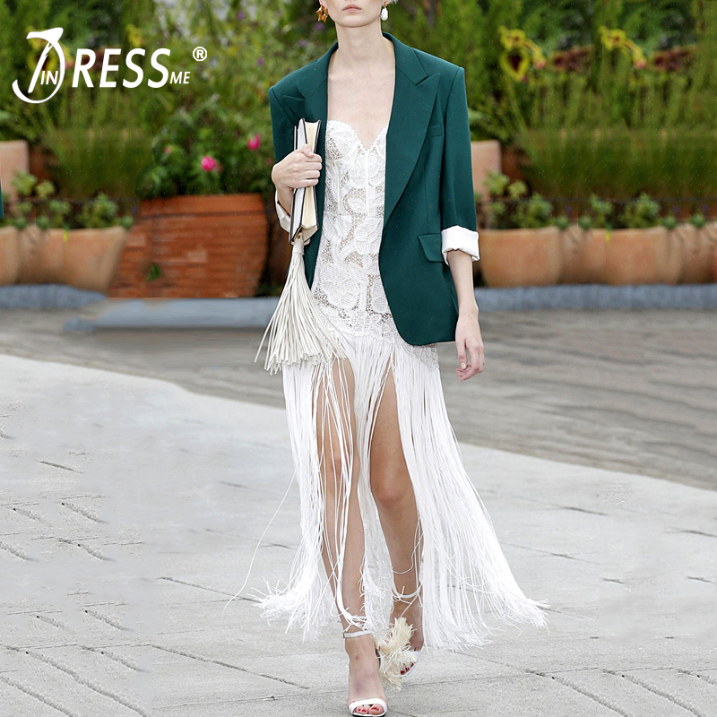 INDRESSME 2019 Women New Sexy Bandage Dress Sleeveless Strapless Ankle Length Tassel Lace Bodycon Dress Lady