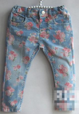 Hot moda bebê recém-nascido menina leggings de jeans crianças denim calças crianças flor calças skinny para meninas 9 M-36 M