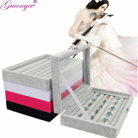 Guanya Brand Black Gray Rings Display Box Jewelry Box Glass Cover Ring Receive Case Stud Earings