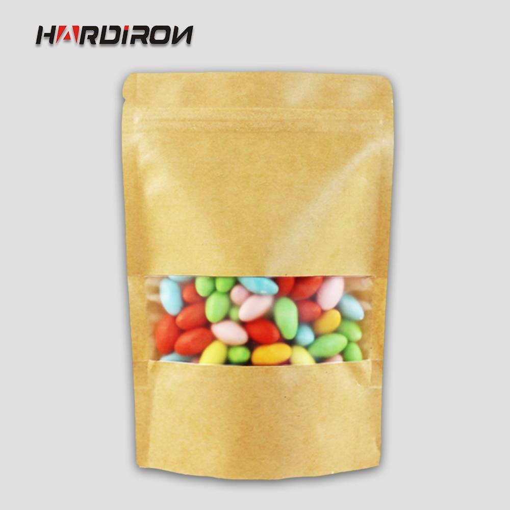 Kraft Paper Standing Zipper Tea Bags with Matte Window Recloseable Yellow Kraft Moistureproof Pack Storage Candy,Beans Pouches