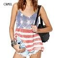 ORMELL Estilo Top 2016 Recién Llegado de Verano Camisola Para Mujer Casual Tops América Flag Impreso V Cuello Correa de Espagueti Camisola