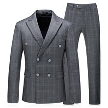 Double Breasted Gray Plaid Men Suits 2018 New Arrival Gentlemen Business Party Suits 3 Pieces Young Male Classic Tuxedos Sets(China)