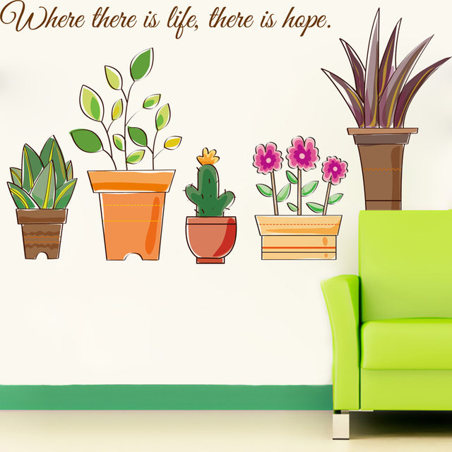 Cartoon Potted Flowers Wall Decals Flowerpot Bonsai Bee Butterfly Kids Room Border Stickers Glass Window Decor Poster
