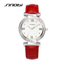 Mulheres da moda relógios de marca sinobi elegantes senhoras de luxo de couro relógio de pulso com diamante de qualidade relógio feminino 2017 f93