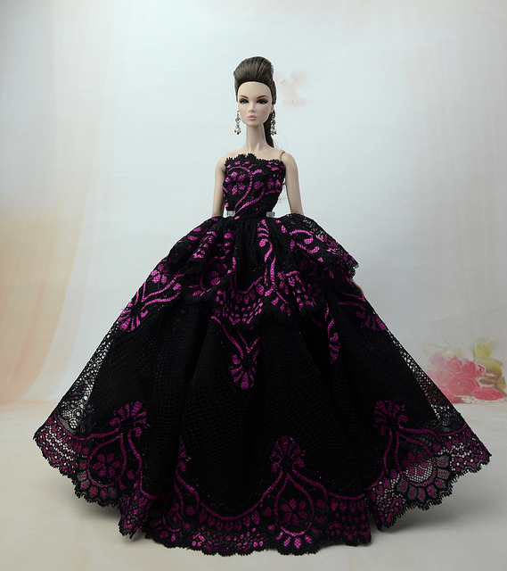 Black Pink Lace Dress Princess Party Wedding Gown Skirt Clothing