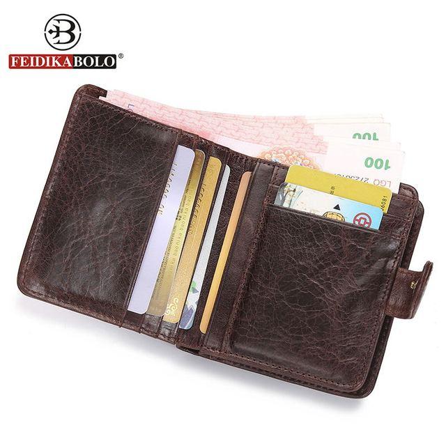 FEIDIKA BOLO Mens Wallet Hombres de Marca Famosa Bolsos de Embrague Retro Hombres de Cuero Carteras Billetera de Cuero Genuino Monederos carteira masculina