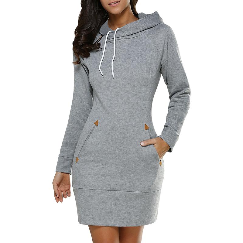 New Dresses Women 2021 AliExpress Spring Tie Hooded High Collar long sleeved Thickening Mini Dress Vestidos Clothing EFF6143