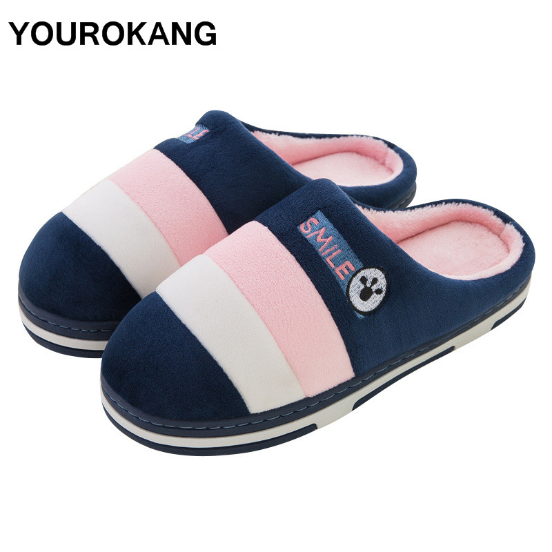 Men Home Slippers 2019 Winter Warm Men's Shoes Flock Indoor Soft Plush Slippers Bedroom Male House Floor Shoes Furry Unisex