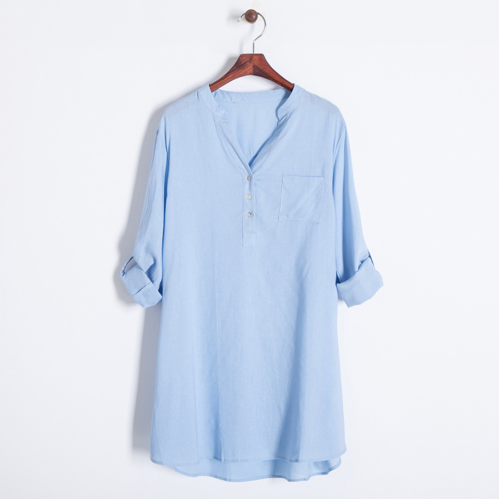45c91ab4881 Women casual cotton blue cream tunic shirt with sash belt v collar full  sleeve long blouse 411406-in Blouses & Shirts from Women's Clothing on ...
