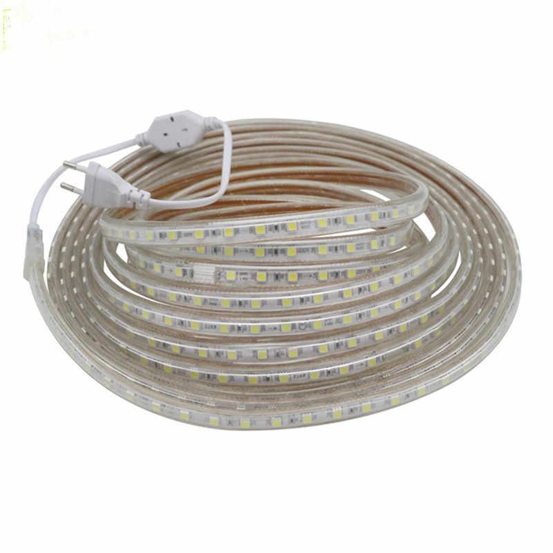 SMD 5050 AC220V LED Strip Fleksibel Lampu 60 LED/M Tahan Air LED Tape Light LED dengan Power Plug 1 m/2 M/3 M/5 M/6 M/8 M/9 M/ 10 M/15 M/20 M