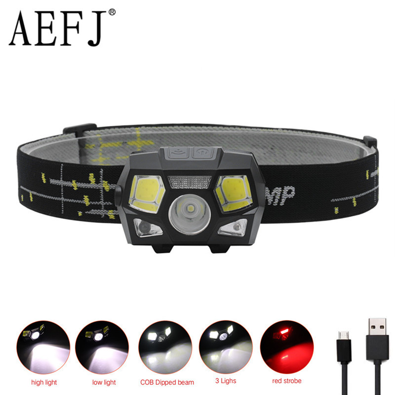 MINI LED Headlamp XPE+COB Motion Sensor Ultra Bright Hard Head Lamp Powerful Headlight USB Rechargeable Waterproof Flashlight