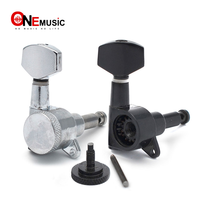 6R Inline Locked String Guitar Tuning Pegs keys Tuners Machine Heads for Strat Tele Style Electric Guitar Chrome Black tuner machine heads machine headstring guitar tuning - AliExpress
