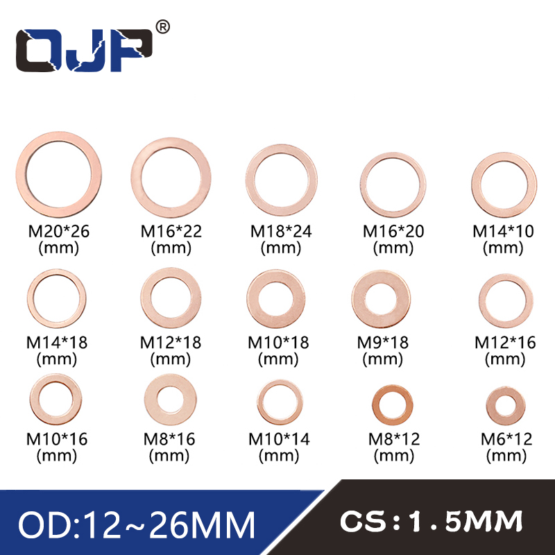 10Pcs DIN7603 M6 <font><b>M8</b></font> M9 M10 M12 M14 M16 M18 M20 T3 O Ring Gasket Sealing Ring Copper <font><b>Washer</b></font> Boat Crush <font><b>Washer</b></font> Flat Seal Fitting image