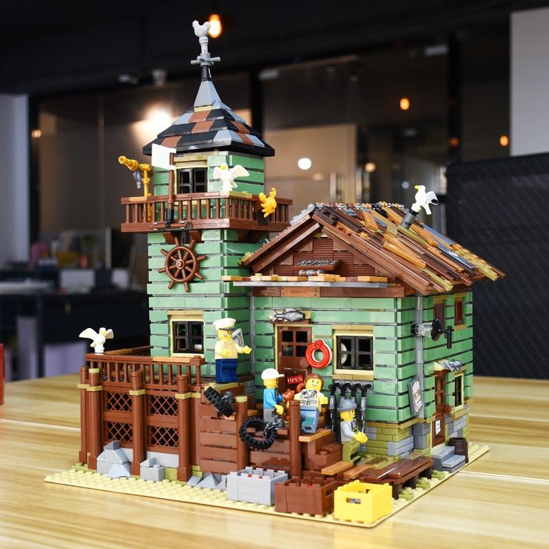 SLPF Creative Movie Series Fisherman Hut Old Fishing Shop Assembled Building Blocks Children Educational Toys DIY Cabin Gift I55