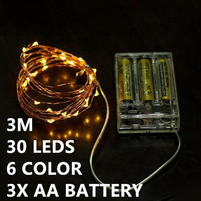 6 color 3M 30leds Fairy font b String b font Lights lamp 3AA Battery Operated Mini