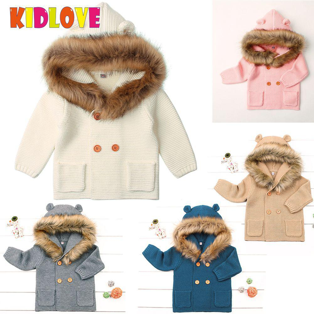Kidlove Boys Girls Hooded Knitted Sweaters Hairy Neckline Double-breasted Cartoon Ear Outerwear Pink Gray 5 Colors 3-24M SAN0 все цены