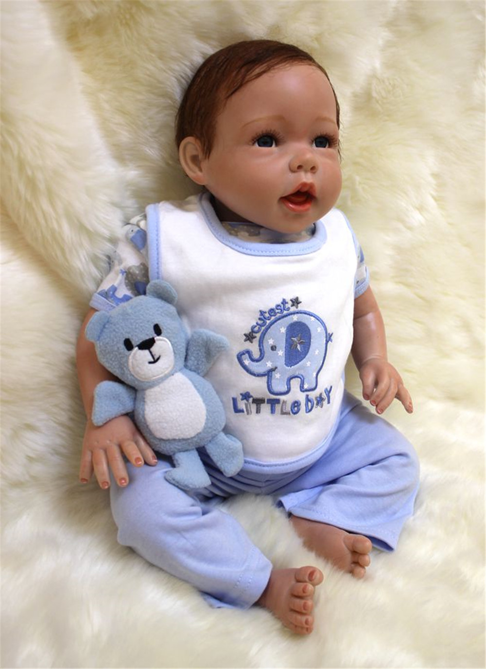NPKCOLLECTION20 50cm Silicone Reborn Baby Doll kids Playmate Gift For Girls Bebe Alive Soft Toys For Bouquets Doll Bebe Rebor