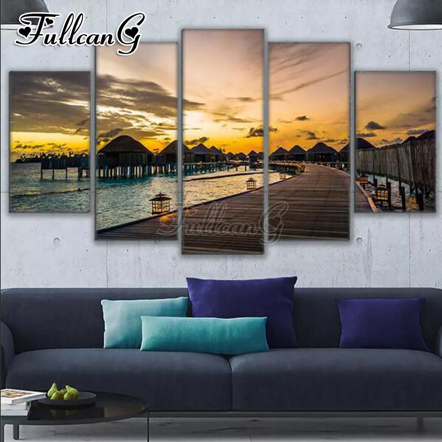 FULLCANG 5 panel diy diamond painting seaside resort full square round drill 5d embroidery sunset scenery