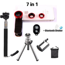 2016 7in1 Universal clip 3in1 Lenses Fish Eye Wide Angle Macro Lens SelfieStick Tripod Bluetooth control