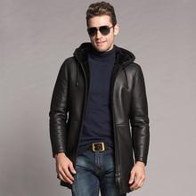 2017 New Men s Winter Shearling Coat Men s Warm Hood Shearling Leather Long Coats Luxury