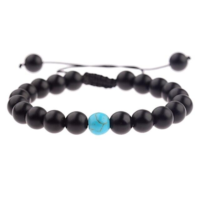 US $1.47 30% OFF Amader 5 kolorów bransoletki dla par dla miłośników urok kamień koraliki odległość splot bransoletki Femme mężczyźni i biżuteria