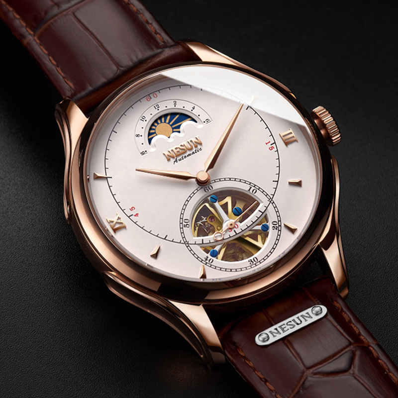 Montre mécanique automatique hommes suisse Nesun Tourbillion montres homme de luxe marque squelette montre saphir montre homme