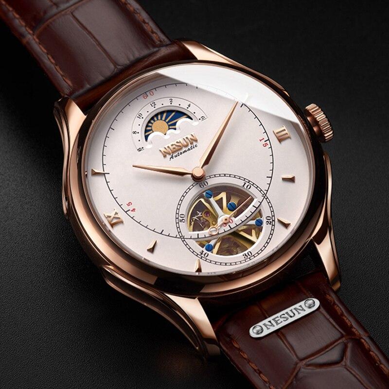 Montre mécanique automatique suisse NESUN Tourbillon montres pour hommes de luxe marque squelette Montre saphir Montre Homme N9038