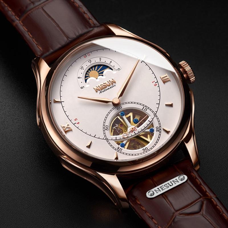 Relógio mecânico automático suíça nesun tourbillon relógios masculinos marca de luxo relógio esqueleto safira montre homme n9038