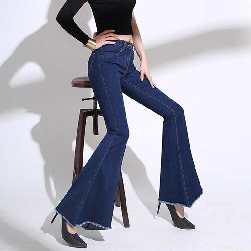 9869b2c7 Retro Long Plus Size Flare Jeans Stretch Big Bell Bottom Jeans Woman  Oversize Wide Leg Jeans
