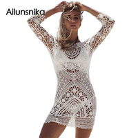 Ailunsnika 2017 Summer Women Sexy Fashion Casual White Hollow Out Sheer Crochet Open Back Long Sleeve