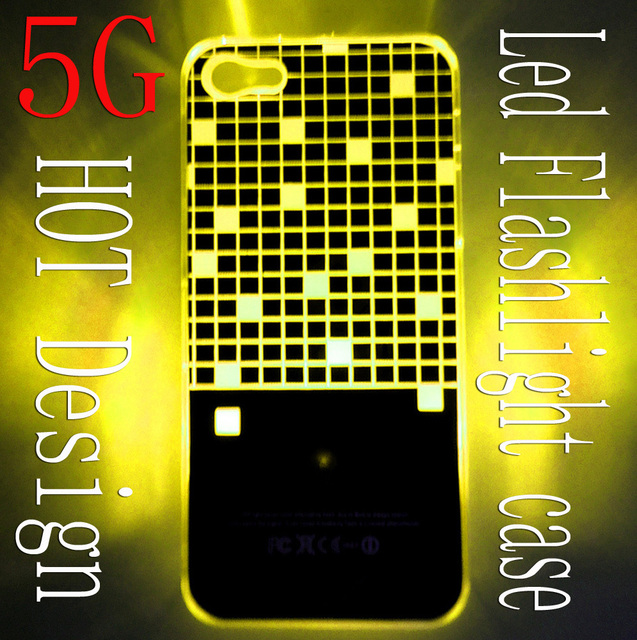 Newest design Colorful Change logo Battery Sense Flash LED light Cover Case for iPhone 5 5g Styles New free  Shipping