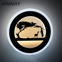 Hinnixy LED Modern Style Acrylic Iron Animal Decoration Wall Lamps 110-240V 14W Black Round Living Room Home Lighting Fixture