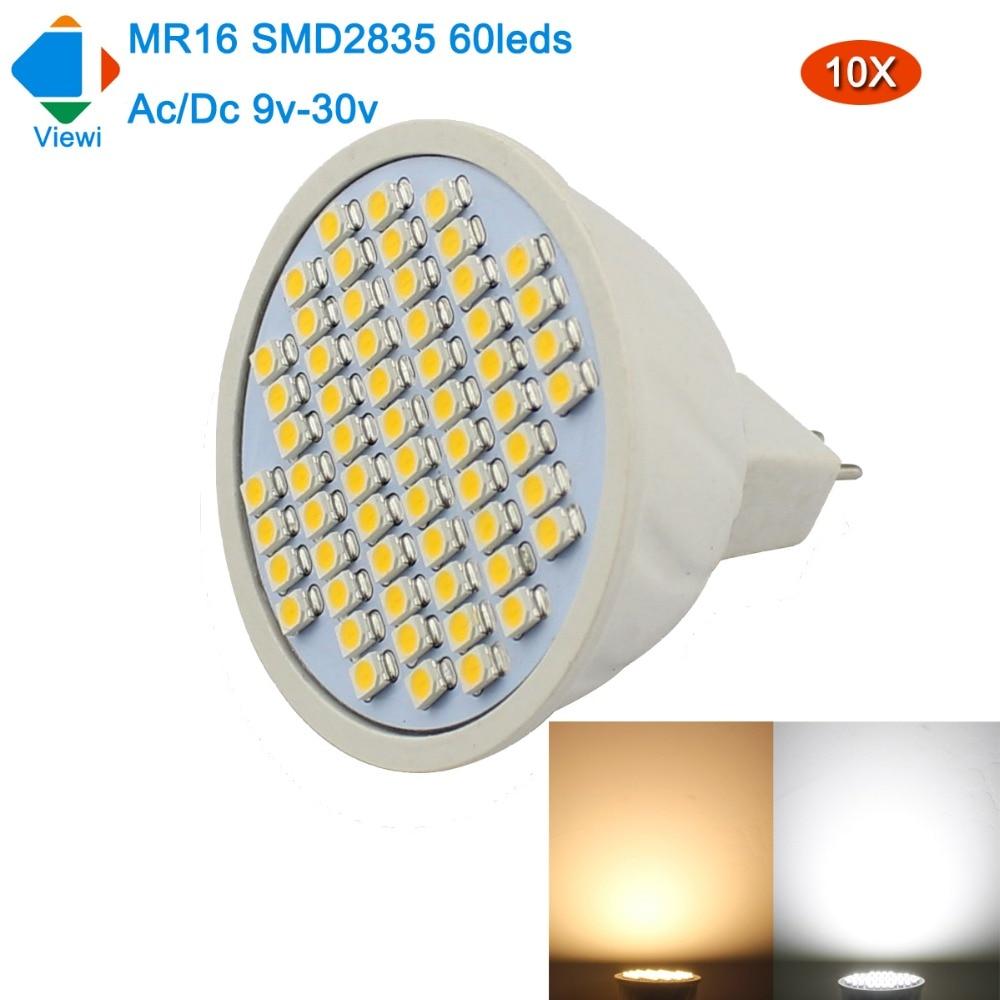 Viewi 10X bombillas mr16 led 12v 24v spotlight super bright smd2835 60 leds light bulb Ac Dc 12 24 volt home lighting lampada