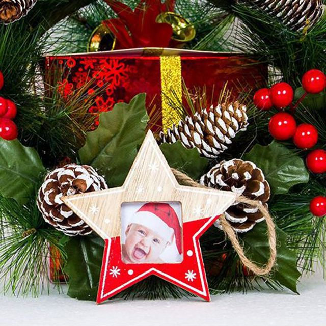 Christmas Tree Decor Hanging Wooden Picture Frame With Rope Creative