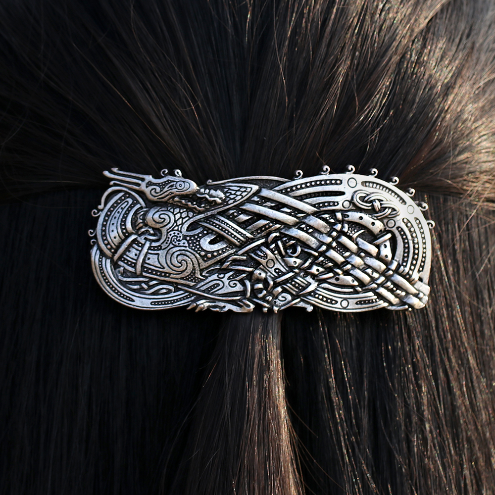 Antique Silver North Vikings Dragon French Barrette Retro Vintage Viking Hair Clip Hair Jewelry for Women Gifts lysumduoe headband black hairpin women clip s shape barrette girl hairgrip hairgrips children hairpins jewelry hair accessories