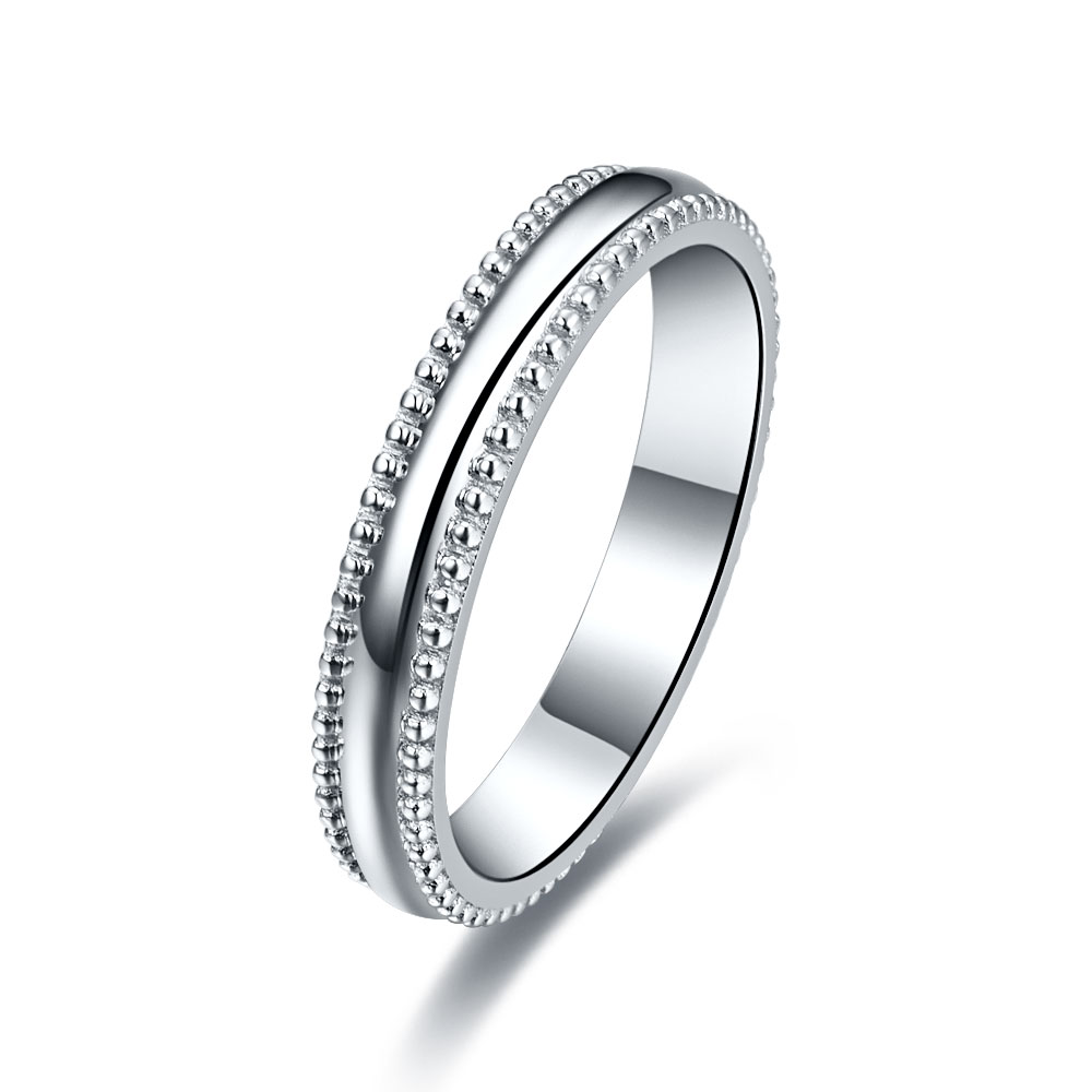 Splendid Solid 14k Plain Jewelry Male Ring Sawtooth Style White Gold