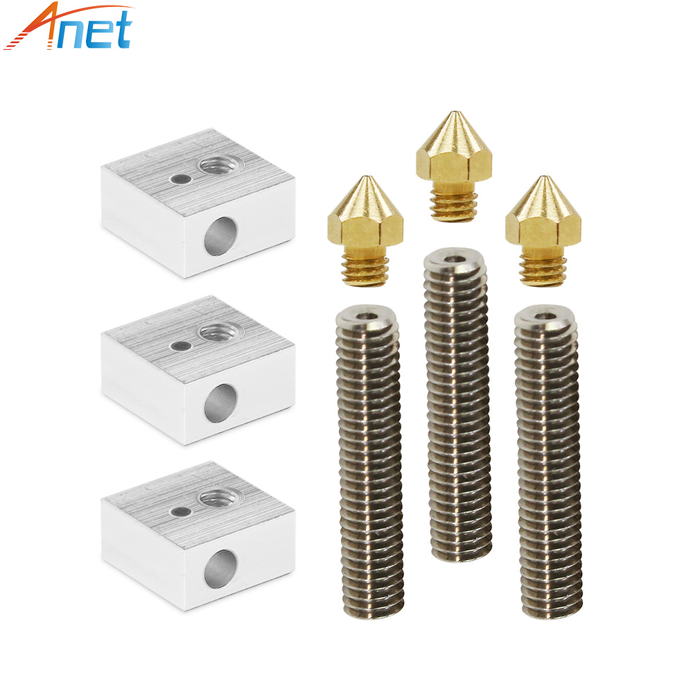 Anet A8&A6 3D Printer Part 3PCS 0.4mm Extruder Nozzle+3PCS 1.75mm Teflon Throat Tube+3PCS Heater Blocks Hotend for Mk8 Makerbot 10pcs lot high quality 3d printer spare parts m6 26 3d printer e3dv5 nozzle throat with teflon tube