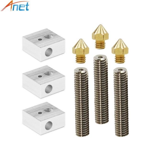Anet A8&A6 3D Printer Part 3PCS 0.4mm Extruder Nozzle+3PCS 1.75mm Teflon Throat Tube+3PCS Heater Blocks Hotend for Mk8 Makerbot